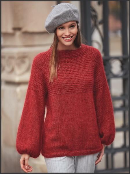 Красный пуловер с рукавами реглан