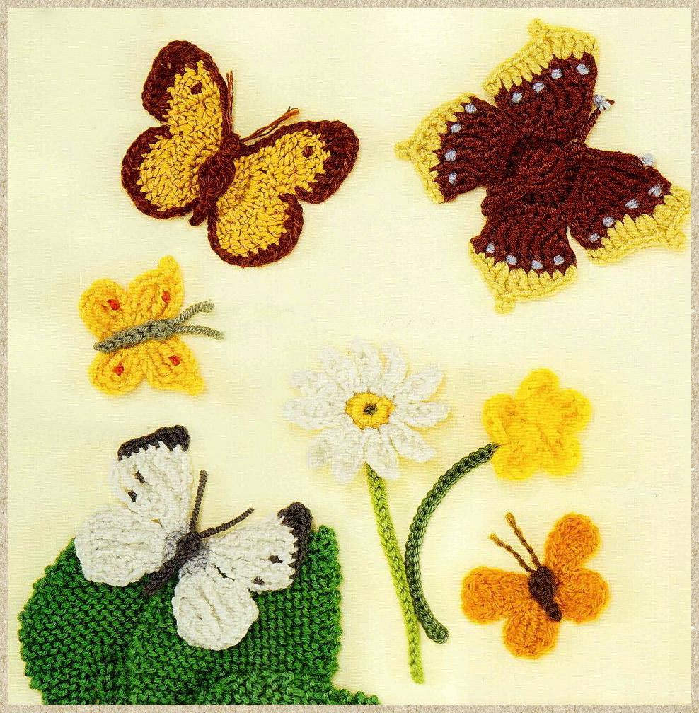 Вязаные заколки бабочки и схема