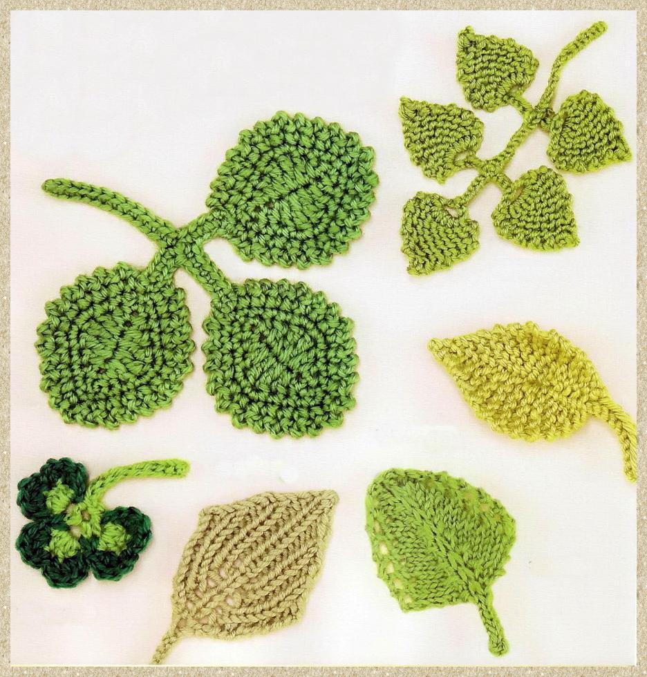 Вязания листьев крючком