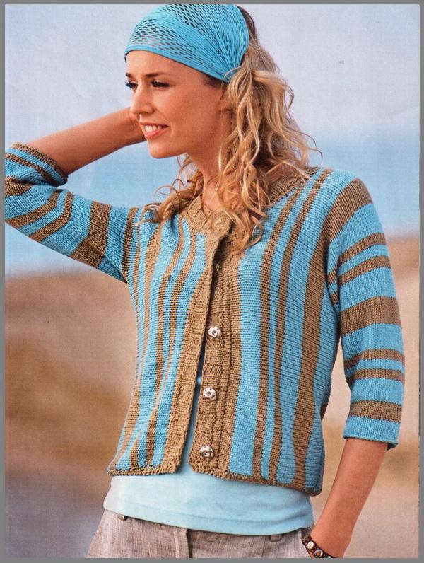 Вязание спицами женских кофточек в полоску